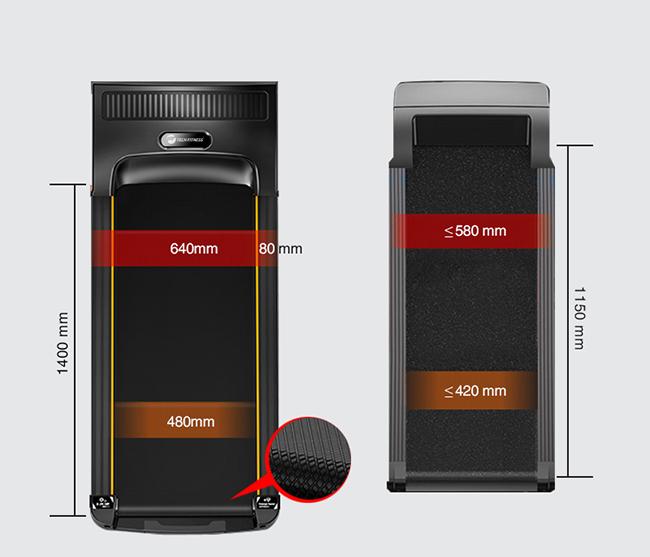 Kích thước băng tải máy chạy bộ gia đình