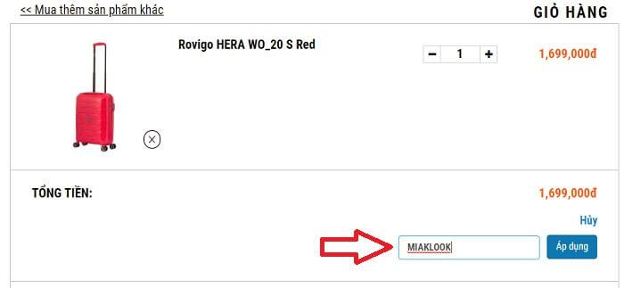 Nhập mã giảm giá Mia và chọn áp dụng